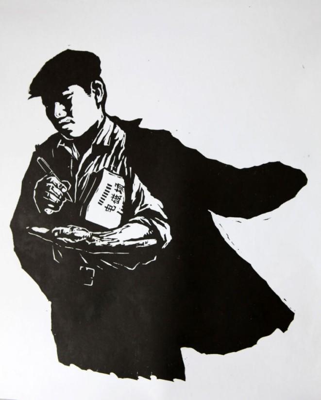 木刻 《下班之后》 1974年于卫东煤矿。记录了当年许多知青矿工在繁重劳功之余,坚持上电大学知识的生动形象,