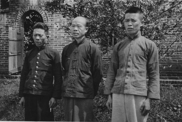Three faithful workmen at Pingnan, China, 1949