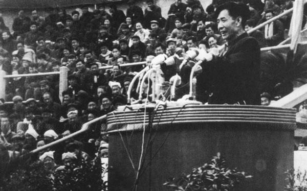 1965年3月2日,胡耀邦在陕西省做报告